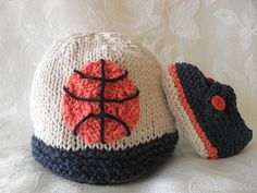 Hand Knitted Baby Hat  BASKETBALL Ivory and por CottonPickings, $24.00