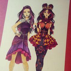 Raven Queen and Lizzie Hearts - Ever After High by Josilix - Cartoon Network Ever After High Cast, Ever After High Games, Lizzie Hearts, Queen Of Hearts, Burlesque Outfit, Gemini Art, Ever After Dolls, Monster High Art, Raven Queen