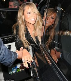 Mariah looking a little tipsy getting out of the limo... oops #SorryForPartying