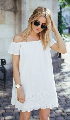 spring fashion  White Lace Off The Shoulder Dress