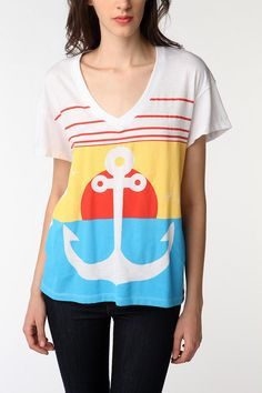 Anchor Oversized V-Neck Tee via Urban Outfitters $19.99