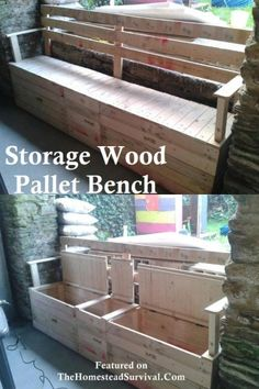 Build your own storage bench out of pallets