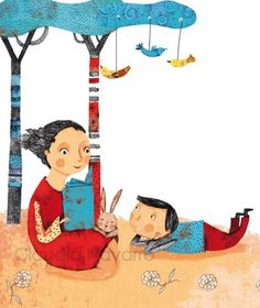 Sharing time and reading / Compartiendo tiempo y  la lectura (ilustración de Claudia Navarro)