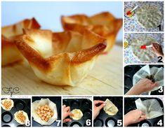 Nidos de pasta filo (Básicos) Philo Dough, Appetizer Recipes, Appetizers, Pasta Filo, Filo Pastry, Dough Recipe, Canapes, Pizza, Empanadas
