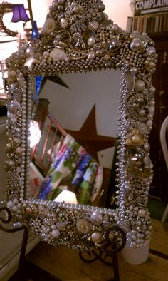 encrusted jeweled mirror by Susan Knowles