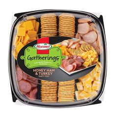 Hormel Turkey, Ham And Cheese Party Tray Meat and Cheese Platters - Deli Platters, Meat Trays, Cheese Platters, Cheese Party Trays, Turkey Ham, Honey Ham, Lemon Butter Chicken, Barbie, Snack Recipes