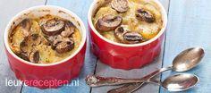 aardappelgratin met champignons en truffel in een eenpersoons schaaltje