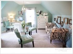 Stunning Office. Wall Color = Sherwin Williams Waterscape (SW6470)