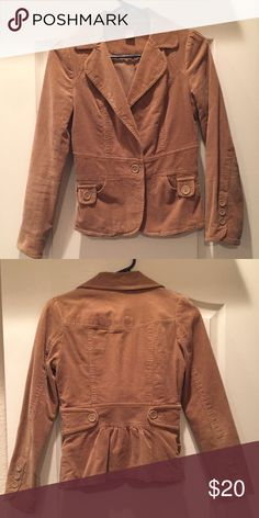 "Forever 21 Corduroy Jacket - Perfect for Fall! - Small and fits TTS - 100% Cotton but has some stretch - Hits below the hip - Has a tailored look - Cute ruching in the back makes it even more feminine - 14"" shoulder to shoulder - 16"" armpit to armpit - 21"" yoke to bottom - In EUC no tears or major flaws (you'll notice I wrote my initials on the tag) Forever 21 Jackets & Coats"