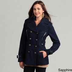 @Overstock - Classic anchor-detailed buttons, epaulet details at the shoulder and belted cuffs complete the look of this stylish Miss Sixty double-breasted peacoat. This women's peacoat is crafted from a unique wool blend and fully lined for comfort.http://www.overstock.com/Clothing-Shoes/Miss-Sixty-Womens-Wool-Blend-Peacoat/4862972/product.html?CID=214117 $119.99