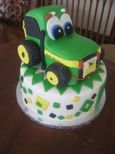 Johnny Tractor Cake This is my first go at a tractor cake. Base cake and tractor are marble cake frosted with whipped buttercream and. 1st Birthday Parties, Birthday Cake, Birthday Ideas, Whipped Buttercream, John Deere Party, Marble Cake, Farm Party, Tractors, First Birthdays