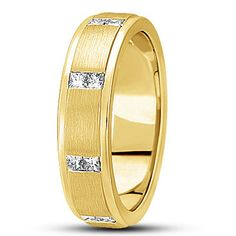 MENS 14K YELLOW GOLD SATIN FINISH PRINCESS DIAMOND WEDDING BAND RING 6mm SIZE 10 #WithDiamonds