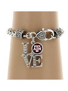 College Clasp Bracelet  Love by sassygirlsx3 on Etsy, $12.00 Love Charms, Bracelet Clasps, Texas A&m, Cute Jewelry, Colleges, Schools, Bridesmaids, Ring Bracelet, Bracelets