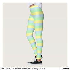 Soft Green, Yellow and Blue Stripes Leggings #leggings #yogapants #workout #fitness #pilates #spandex #fashion