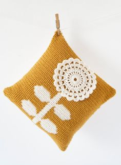 "Retro Modern Crochet Cushion Pattern Pillow Flower PDF 14""x14"" Mustard Scandinavian Nordic on Etsy, ¥530.85"