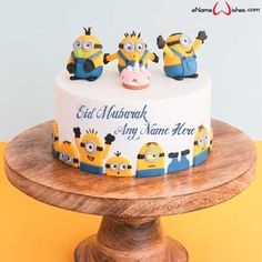 Write name on Cute Eid Mubarak Minions Wish Name Cake with Name And Wishes Images and create free Online And Wishes Images with name online. - Happy Eid Mubarak Wishes  IMAGES, GIF, ANIMATED GIF, WALLPAPER, STICKER FOR WHATSAPP & FACEBOOK