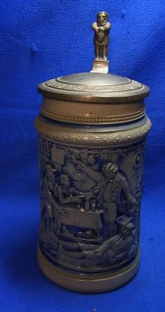 Antique German Lidded Beer Stein Crackerbarrel Motive Gnome Tin Top #XX