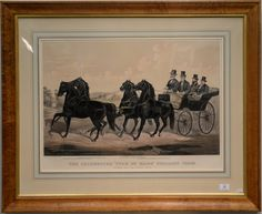 """Currier & Ives  The Celebrated """"Four in Hand"""" Stallion Team Superb and His Three Sons  large folio hand-colored lithograph  after John Cameron published in New York by Currier & Ives, 1875  20 3/4"""" [...more]  Estimate: $400 - $800"""