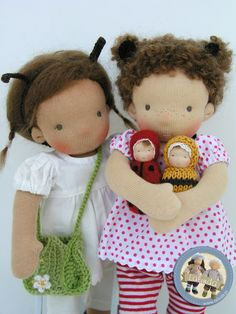Ladybug and bee dolls with their 'children' by Lalinda.pl