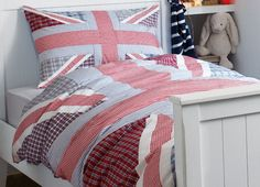 Harry Blue and Red Union Jack Cotton Duvet Set at Laura Ashley Baby Boy Room Decor, Childrens Room Decor, Kids Decor, Linen Bedding, Bedding Sets, Bed Linens, Union Jack Bedroom, Best Carpet, Cotton Duvet