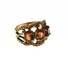 DESCRIPTION Smokey Topaz Crystal Three Stone Ring Ornate Detailing, Gothic Revival Feel DETAILSEraGo #gotvintage #fashionista #glam #shopaholic #fblogger #jewelryaddict #vintage #retro #runway #fashiondailies #wiw
