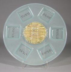 Glass Seder Plate SP-RDsm-IC/D by Kelemen - K4 Glassart