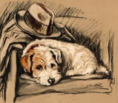 1937 LUCY DAWSON Vintage Colour Dog Print DEENA