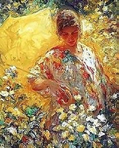 Girl with Yellow Umbrella by Jose Royo