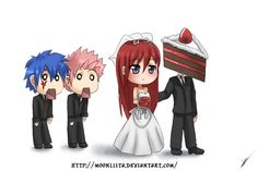 Erza does love her cake! :) And, what the hell are you doing there, Natsu?! Go find Lucy! ;) Lol!