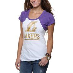 5cadf1e6c99 Brand Los Angeles Lakers Ladies Big Time Raglan Slim Fit T-Shirt -  White Purple