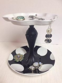 Jewelry Stand - Polka Dot - Catch-All Trinket Dish - Vintage - Repurposed by EvermoreOriginals on Etsy https://www.etsy.com/listing/222673189/jewelry-stand-polka-dot-catch-all