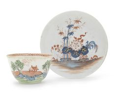 A study colln of Longton Hall and West Pans circa 1755-70 Longton saucer painted in blue and iron red with flowering plants and bamboo picked out in gold, 11.8cm diam (rim chip), a West Pans teabowl in salmon pink, green and blue enamel with a hut on an island, 7.7cm diam (misfiring to rim), 2 Longton coffee cups and a similar teabowl all painted with coloured flowers in 'Trembly Rose' style,3 various Longton coffee cups blue and white decoration, and another saucer, maker unknown,£1,375