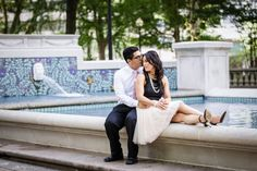 Rittenhouse Square classic engagement session with beautiful pink tulle skirt at water fountain | Philadelphia Wedding Photographer Ashley Gerrity Photography