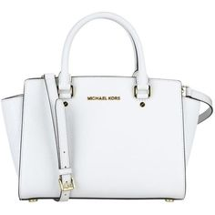 Michael Michael Kors Selma Bag Saffiano Medium Gold Logo (€287) ❤ liked on Polyvore featuring bags, handbags, shoulder bags, white, genuine leather purse, leather handbags, white shoulder bag, print purse and 100 leather handbags
