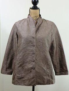 ART TO WEAR Lagenlook Eileen Fisher jacket artsy top Silk taupe designer sz PM #EileenFisher #BasicJacket #Formal
