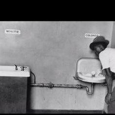 Segregated Water Fountains (1950). Elliott Erwitt, Magnum Photos. [Picture of segregated water fountains in North Carolina]