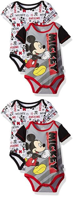Disney Baby Boys' Mickey Mouse Adorable Soft Two-Pack Bodysuits, Awesome Gray, 3-6 Months