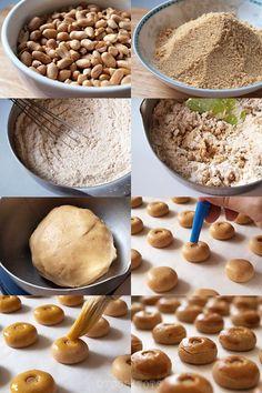 Step by step tutorial - Peanut Cookies Peanut Cookie Recipe, Almond Cookies, Peanut Butter Cookies, Yummy Cookies, Cookie Recipes, Snack Recipes, Dessert Recipes, Cracker Cookies, Biscuit Cookies