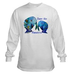 Save the Manatees Long Sleeve Shirt in Blues.  Two whimsical manatees painted in watercolor can be found on many gift items including iPhone skins, and computer covers.  Love Manatees?  Get the manatee PJ's with this design.  They can be found here:  http://www.cafepress.com/whimzicals/2563146  Enjoy my whimsical version of the Manatees... with a manatee gift item.