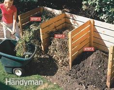 An important composting tip is to gradually shift the decaying material from bin to bin.