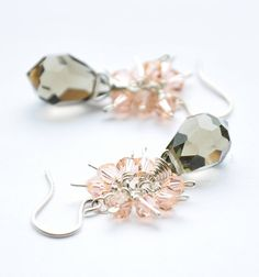 Black Crystal Earrings Pastel Peach Champagne by GueGueCreations, $45.00