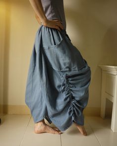 Love Me..Love Me Not II - Steampunk Blue Light Double Gauze Cotton Convertible Skirt Or Pants And 2 Roomy Pockets. $50.00, via Etsy.