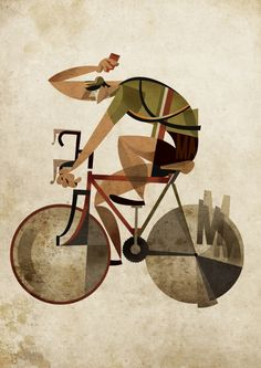 More cycle art from the excellent Ricardo Guasco (other examples of his work have appeared on this site). Bicycle Illustration, Art Et Illustration, Velo Retro, Bike Poster, Bicycle Art, Cycling Art, Illustrations And Posters, Art Design, Vector Art