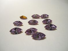 Vintage Glass Alexandrite Light Purple colour Marquise Navette foiled rhinestone approx 8mm x 4mm - 10 pieces by JEDJewellerySupplies.com £2.49