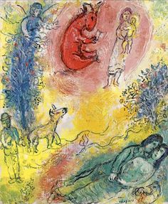 """Donkey in the Red Sky by Marc Chagall, ca.1965. Oil on canvas, 46 x 38 cm (18 1/8 x 15"""")"""