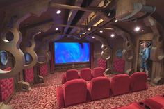 """""""Nautilus"""" Home Theater Room - Gotta admit. That's pretty cool. Casa Steampunk, Steampunk Bedroom, Steampunk Home Decor, Steampunk Theme, Steampunk Design, Steampunk Gears, Steampunk Wedding, Movie Theater Rooms, Cinema Room"""