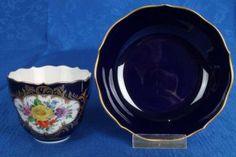 MEISSEN Porzellan  Sammeltasse kobaltblau & Blumenmalerei Goldstaffage
