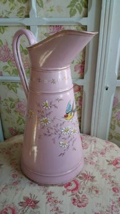 Antique French Pink Enamel Pitcher with Swallow Florals C1900 | eBay
