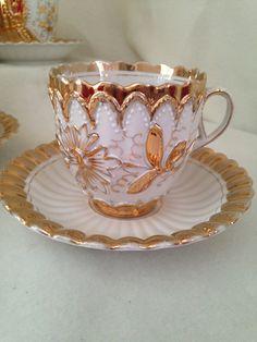 Heavy Gold Floral Tea Cup and Saucer Set - Embossed - Japan by ThePinkVintageRose on Etsy https://www.etsy.com/ca/listing/486591614/heavy-gold-floral-tea-cup-and-saucer-set