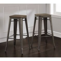 Tabouret 30-inch Vintage and Gunmetal Bar Stools (Set of 2) - Overstock Shopping - Great Deals on Bar Stools